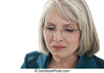 Sad mature woman - Mature, attractive Caucasian woman...