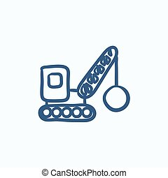 Demolition crane sketch icon - Demolition crane vector...