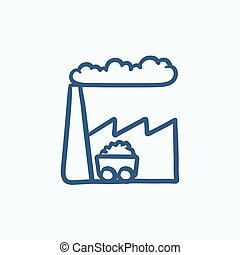 Factory sketch icon - Factory vector sketch icon isolated on...