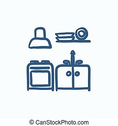 Kitchen interior sketch icon.
