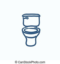 Lavatory bowl sketch icon - Lavatory bowl vector sketch icon...