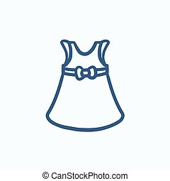 Baby dress sketch icon. - Baby dress vector sketch icon...