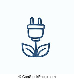 Eco green energy sketch icon - Eco green energy vector...