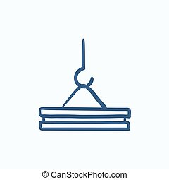 Crane hook sketch icon - Crane hook vector sketch icon...