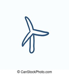 Windmill sketch icon. - Windmill vector sketch icon isolated...