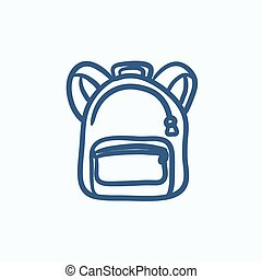 Backpack sketch icon - Backpack vector sketch icon isolated...