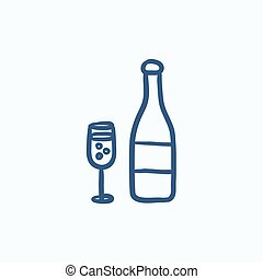 Bottle of champaign and glass sketch icon. - Bottle of...