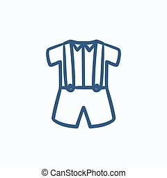 Baby shirt and shorts with suspenders sketch icon - Baby...