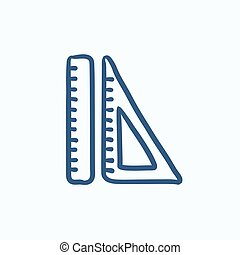 Rulers sketch icon - Rulers vector sketch icon isolated on...