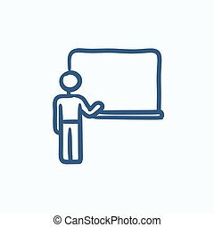 Professor pointing at blackboard sketch icon - Professor...