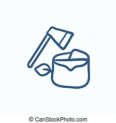 Deforestation sketch icon - Deforestation vector sketch icon...