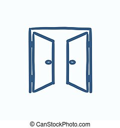 Open doors sketch icon - Open doors vector sketch icon...