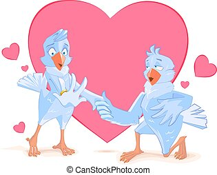 Wedding doves bird engagement Dove offers his heart Template...