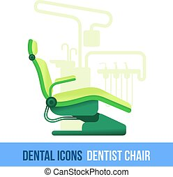 Vector flat dental icon. Dentist chair. Brochures,...