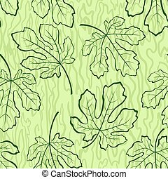 Seamless Background, Fig Leaves - Seamless Tile Background,...