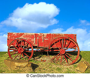 Red old wagon.