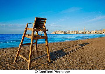 Benidorm Poniente beach watchtower seat Alicante - Benidorm...