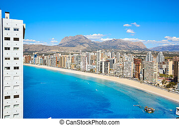 benidorm levante beach aerial view in alicante spain