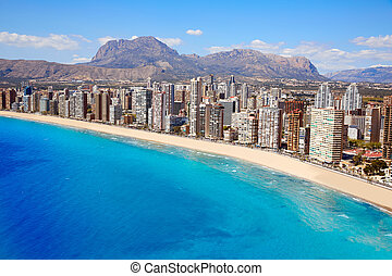 Benidorm Levante beach in Alicante Spain - Benidorm aerial...