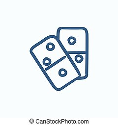Domino sketch icon - Domino vector sketch icon isolated on...