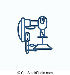 Industrial automated robot sketch icon - Industrial...
