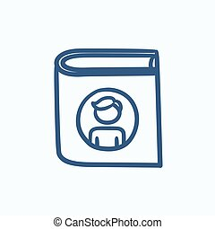 Family photo album sketch icon. - Family photo album vector...