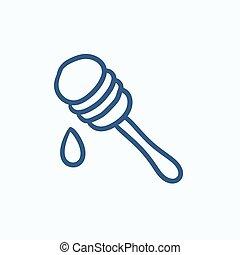 Honey dipper sketch icon. - Honey dipper vector sketch icon...