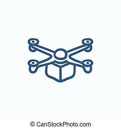 Drone delivering package sketch icon. - Drone delivering...