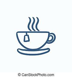 Hot tea in cup sketch icon. - Hot tea in cup vector sketch...