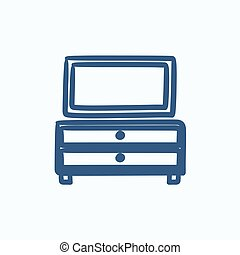 Chest of drawers with mirror sketch icon.