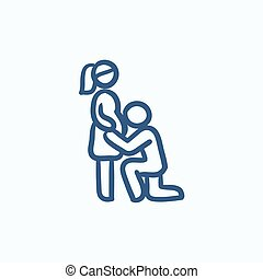 Man with pregnant wife sketch icon - Man with pregnant wife...