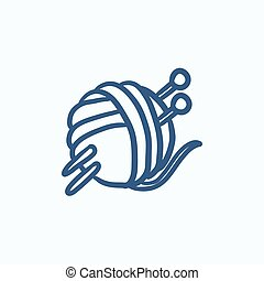 Threads for knitting with spokes sketch icon - Threads for...
