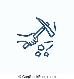Hand using pickax sketch icon - Hand using pickax vector...