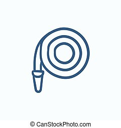 Firefighter hose sketch icon. - Firefighter hose vector...