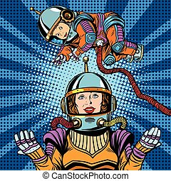Space astronaut mother and newborn baby pop art retro...