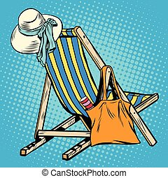 deck chair with beach things women pop art retro vector. Hat...