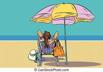 Girl in a deckchair on the beach pop art retro vector. The...
