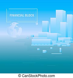 Background Financial Unit - Abstract building on a blue...