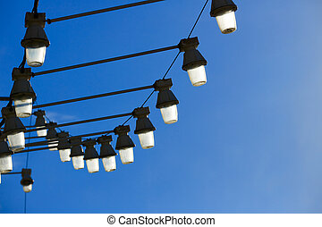 streetlights in levante beach of benidorm in spain