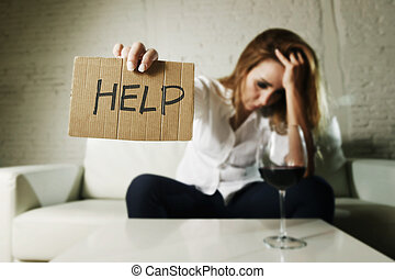drunk alcoholic blond woman drinking alcohol asking for help...