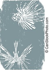 Two Distressed Hipster LionFish - Woodcut style image of...
