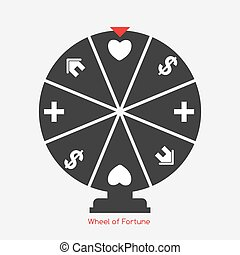Wheel of Fortune, Lucky Icon with Money, Health, Home and...