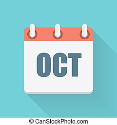 October Dates Flat Icon with Long Shadow. Vector Illustration