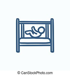 Baby laying in crib sketch icon - Baby laying in crib vector...