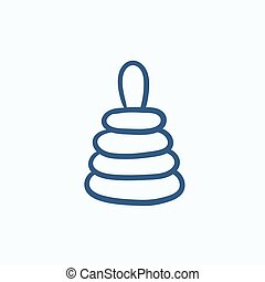 Pyramid toy sketch icon. - Pyramid toy vector sketch icon...