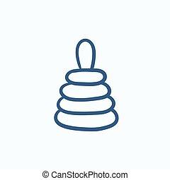 Pyramid toy sketch icon - Pyramid toy vector sketch icon...