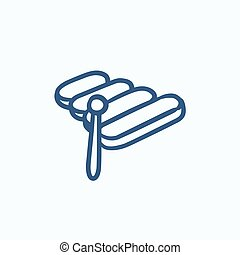 Xylophone sketch icon - Xylophone vector sketch icon...
