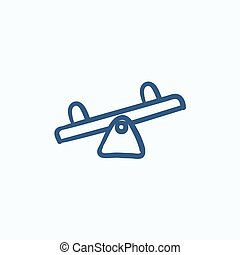 Seesaw sketch icon - Seesaw vector sketch icon isolated on...