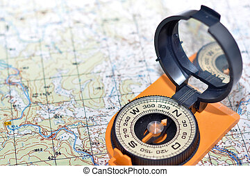 Compass and map - friends travelers - Compass map - friends...