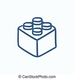 Building block sketch icon - Building block vector sketch...
